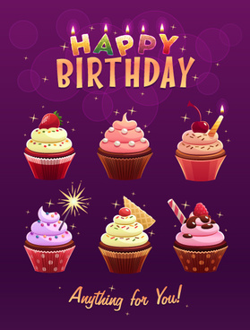 delicious birthday cupcake vector