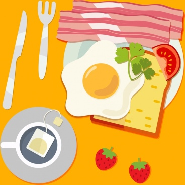 delicious breakfast drawing fried egg tea fruit icons