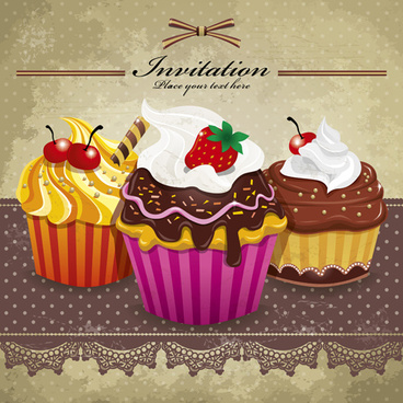 delicious cupcakes design elements vector