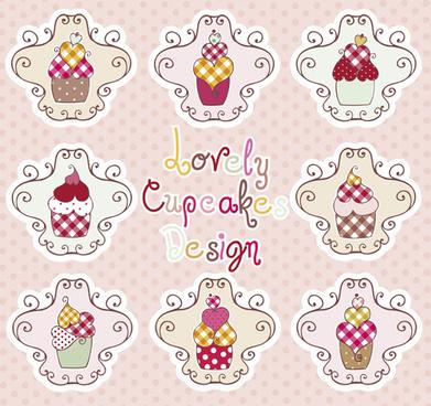 delicious cupcakes design elements vector