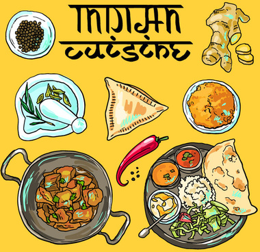 delicious india food illustration vector