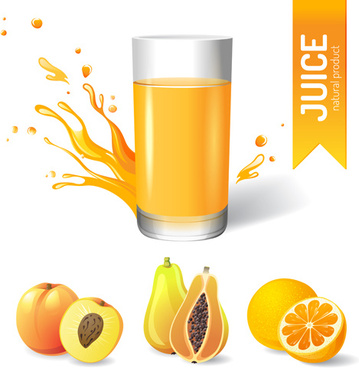 delicious juice drink design vectors