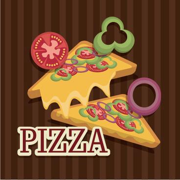 delicious pizza illustration vector