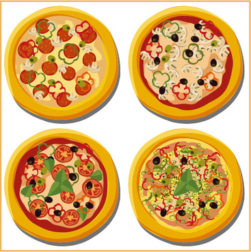 delicious pizza illustration vector