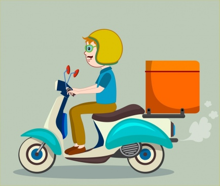 delivery advertising man scooter icons colored cartoon