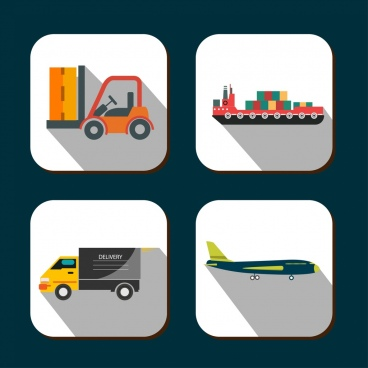 delivery icons forklift ship plane trucks symbols ornament