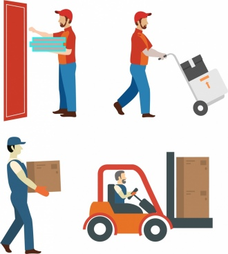 delivery method icons human ornament various types