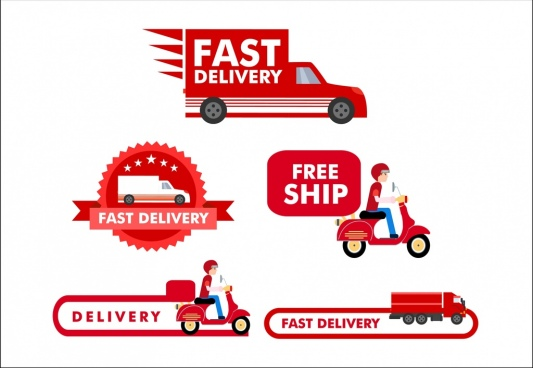 delivery methods icons collection various flat roadway types