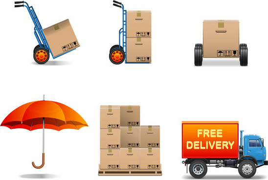 delivery service collection box package truck umbrela
