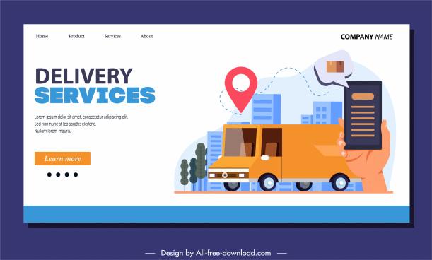 delivery service webpage template van smartphone sketch