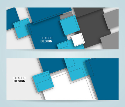 delusion abstract header design template sets with squares
