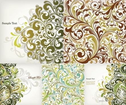 decorative pattern templates colored seamless curves decor