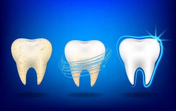 dental advertisement teeth icon white blue design