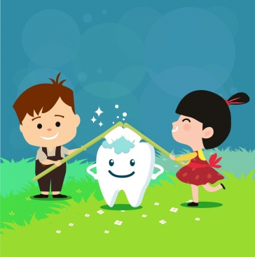 dental advertising kids stylized tooth icons decor