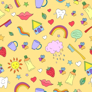 dental background colorful repeating icons decor