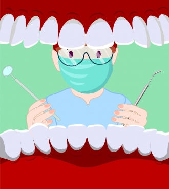 dental background dentist mouth jaw icons cartoon design