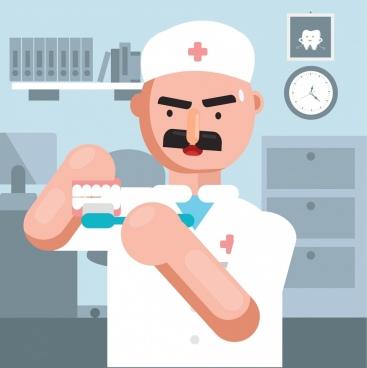 dental background dentist work icon cartoon design