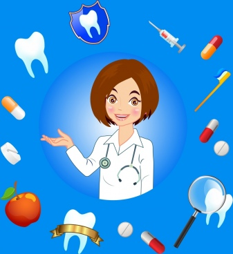 dental background female dentist icons various colored symbols