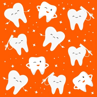 dental background stylized teeth icons cute design