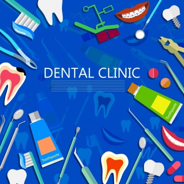 dental background various colored icons decoration