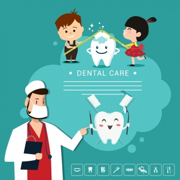 dental banner dentist children stylized teeth icons