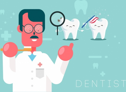 dental banner dentist stylized tooth icons