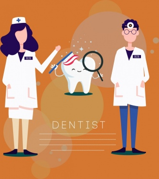 dental banner dentist stylized tooth icons decor