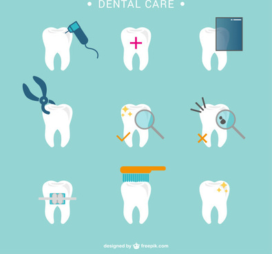 dental care vector icons