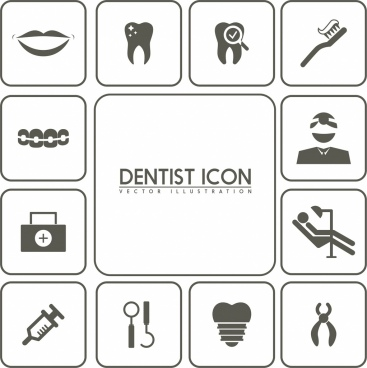 dental design elements black white flat icons isolation