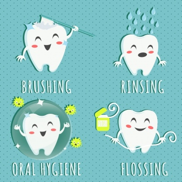 dental design elements cute stylized tooth icons