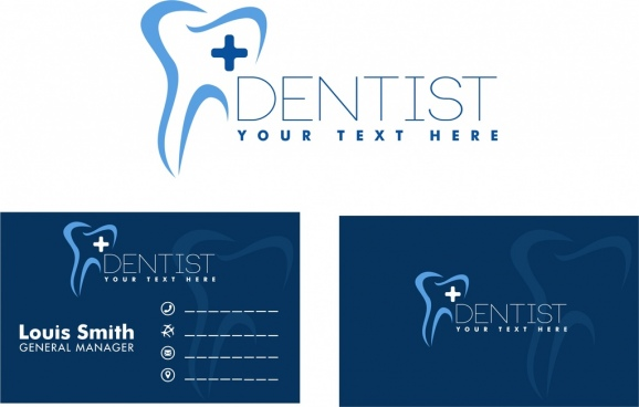 dental name card tooth icon sketch blue design