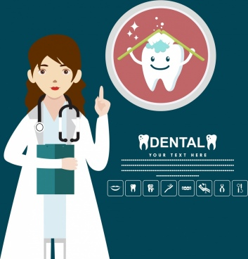 dental poster female dentist stylized tooth icon
