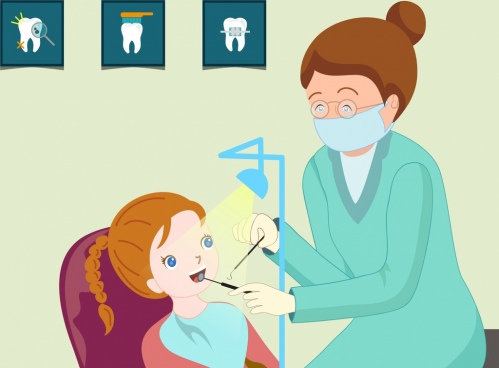 dental work background dentist girl icons cartoon design
