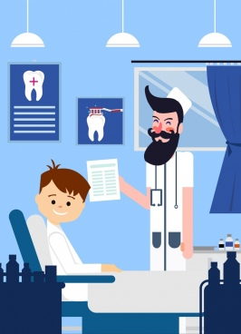 dental work background dentist patient icons cartoon characters