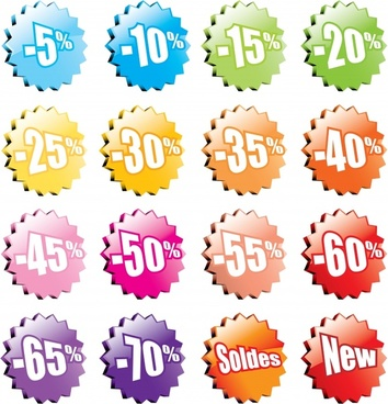 sale tags templates shiny modern serrated shapes