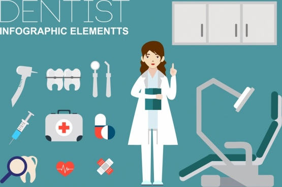 dentist design elements human tools icons flat design