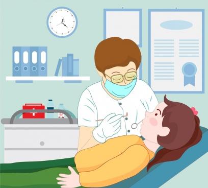 dentist work background colored cartoon design