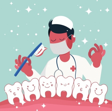 dentistry background dentist stylized teeth toothbrush icons