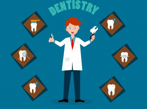 dentistry background dentist tooth icons cartoon character