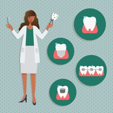 dentistry banner female dentist tooth icons circles isolation