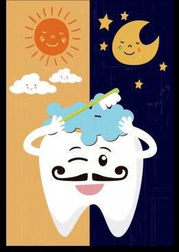 dentistry banner stylized teeth sun moon icons