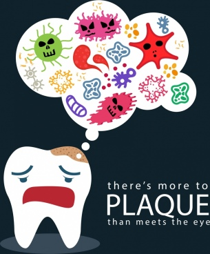 dentistry banner stylized tooth bacteria icons