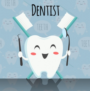 dentistry banner stylized tooth icon repeating backdrop