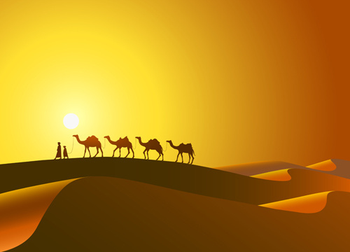desert and camel background vector