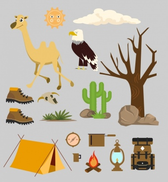 desert design elements natural icons camping accessories objects