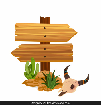 desert design elements wooden signboard skull cactus sketch