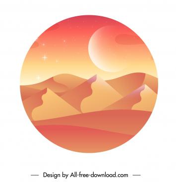 desert dunes scenery background bright orange color decor