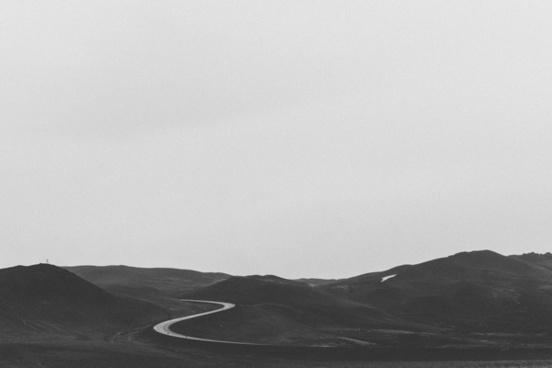 desert empty fog hill horizon landscape minimalism