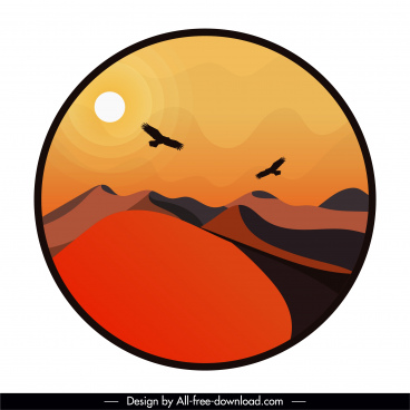 desert landscape background colored classic circle isolation