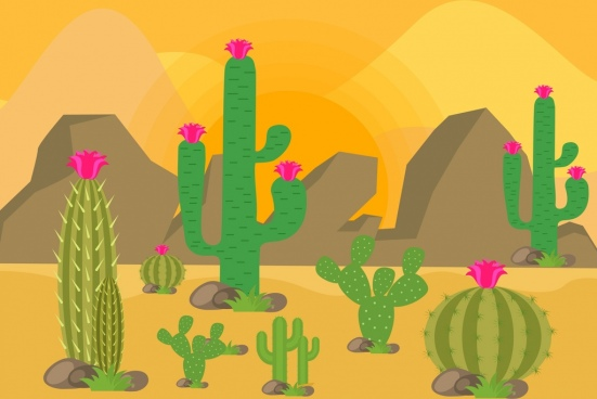 desert landscape drawing cactus rock icons colored cartoon